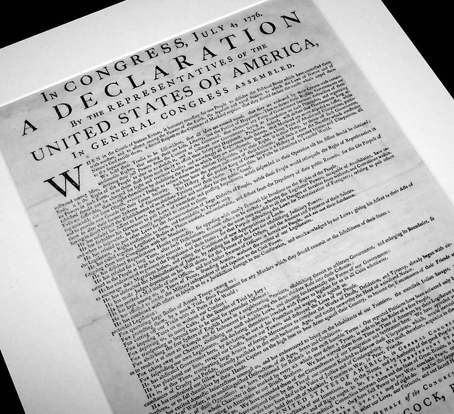 A copy of the Declaration of Independence printed July 4, 1776.