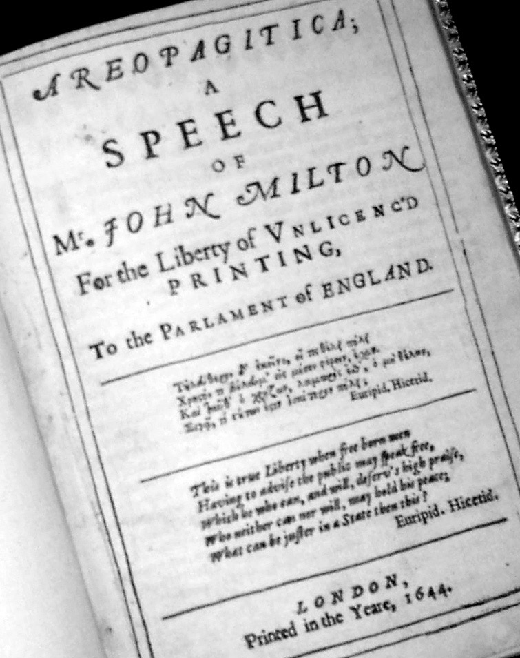 A copy of John Milton s Areopagitica, published in 1644.
