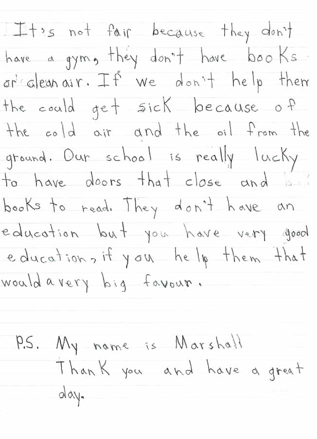Name: Marshall II: Letters from Children and