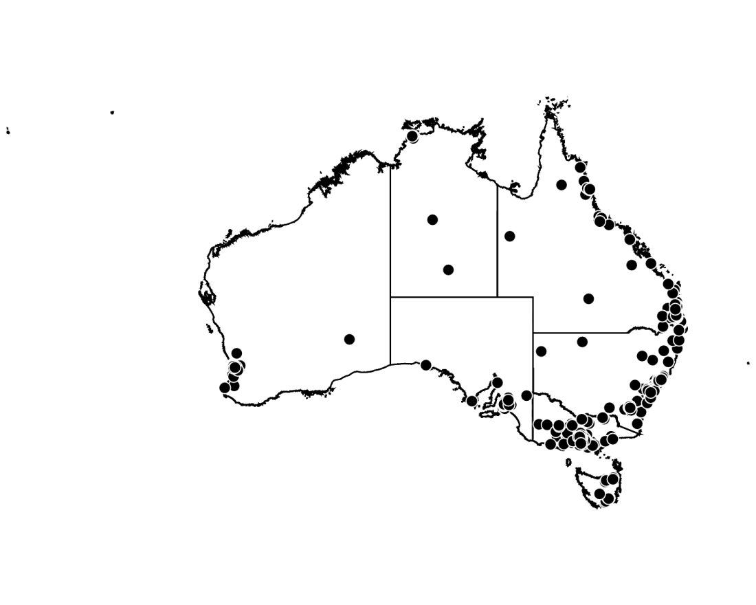 Figure 2: Map of Australia showing the distribution of participants 2.2 Sex and gender of participants Participants were asked what sex they were assigned at birth; 578 (61.