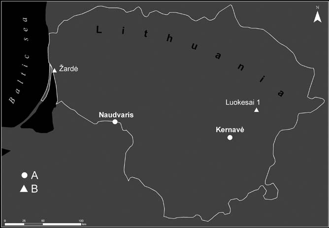 ARCHAEOLOGIA BALTICA 13 Fig. 1. Location of sites studied (A) and mentioned (B) in the text. the Late Bronze Age, according to current Lithuanian periodisation.