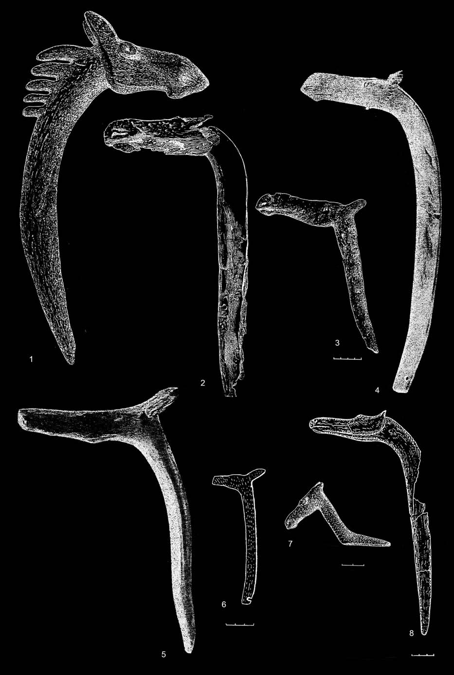 MARIUS IRŠENAS Anthropomorphic and Zoomorphic Stone Age Art in Lithuania, and its Archaeological Cultural Context 176 Fig. 1. Elk-head horn staffs: 3 Olenii Ostrov (after Gurina 1956, Figs.