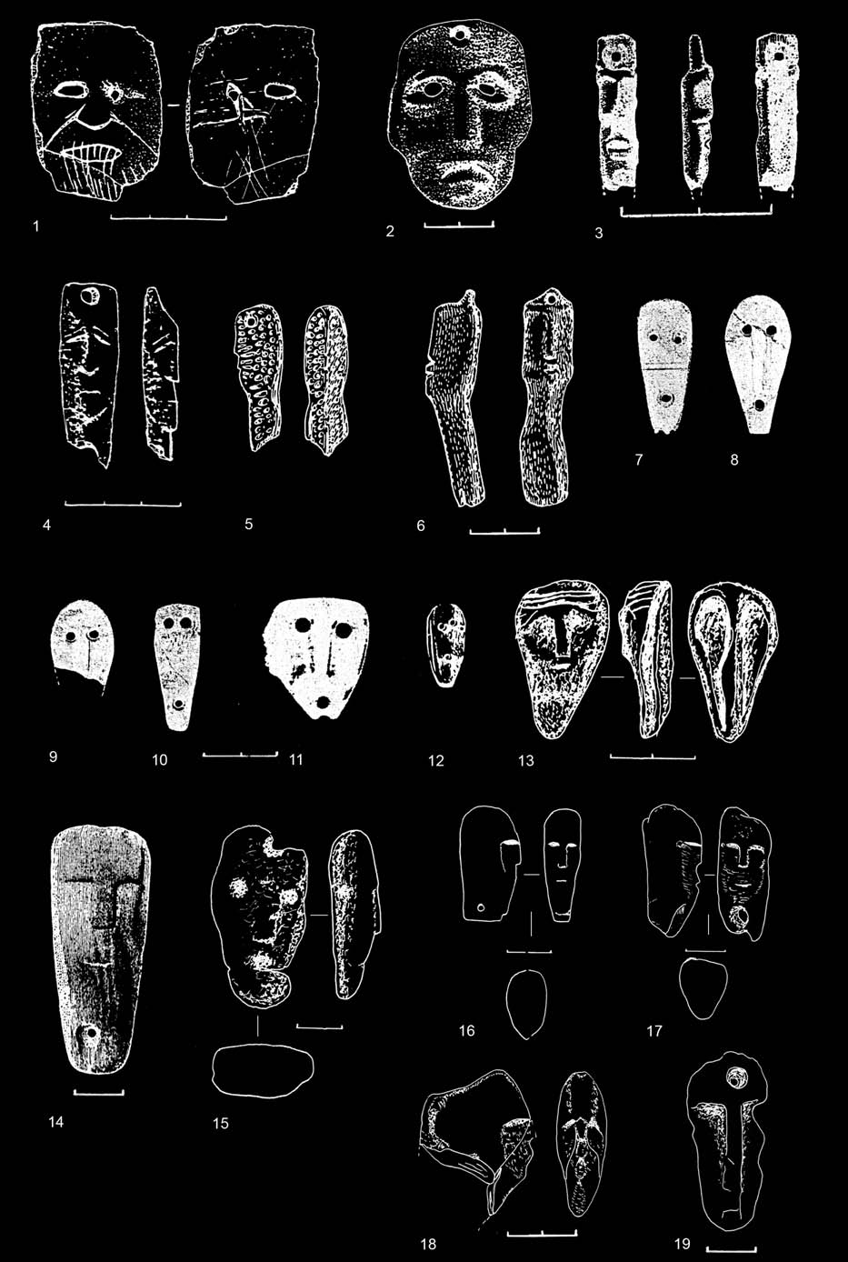 ARCHAEOLOGIA BALTICA 13 II PEOPLE AT THE CROSSROADS OF SPACE AND TIME Fig. 5. Anthropomorphic pendants: 1-4 Kretuonas 1C (after Girininkas 1994, Fig.