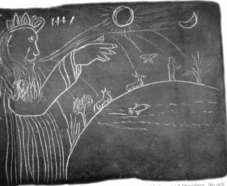 A Michigan Slate Tablet Showing Jehovah Creating the Earth.