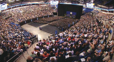SLU Celebrates 2008 Commencement at Chaifetz Arena Photos by Steve Dolan Nearly 6,500 family and friends filled Saint Louis University s Chaifetz Arena May 17 to witness the first class to celebrate