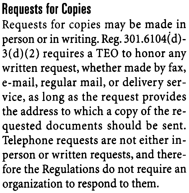 6104(d)- service, as long as the request provides the address to which a copy of the requested documents should be sent.