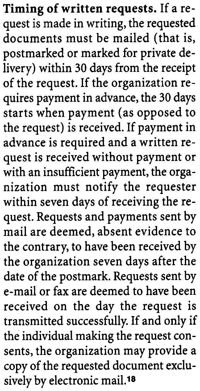 A request for copies may cover part or all of a document.