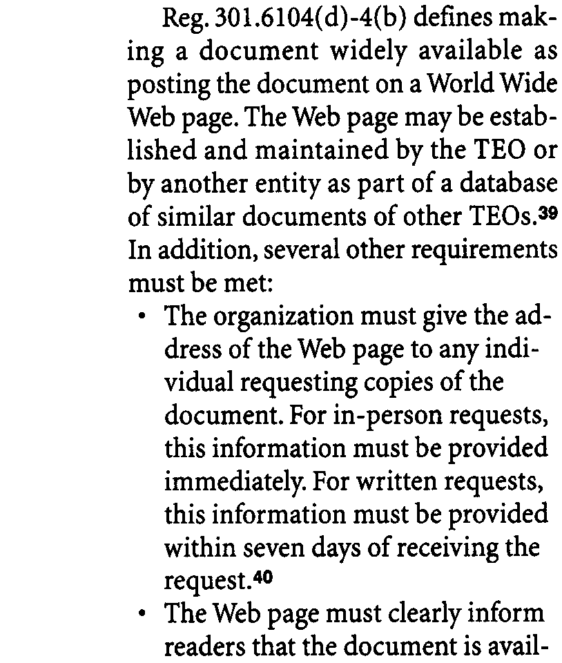 39 At least one Web site has already appeared that offers to post a TEO's documents for a fee (www.990online.com).