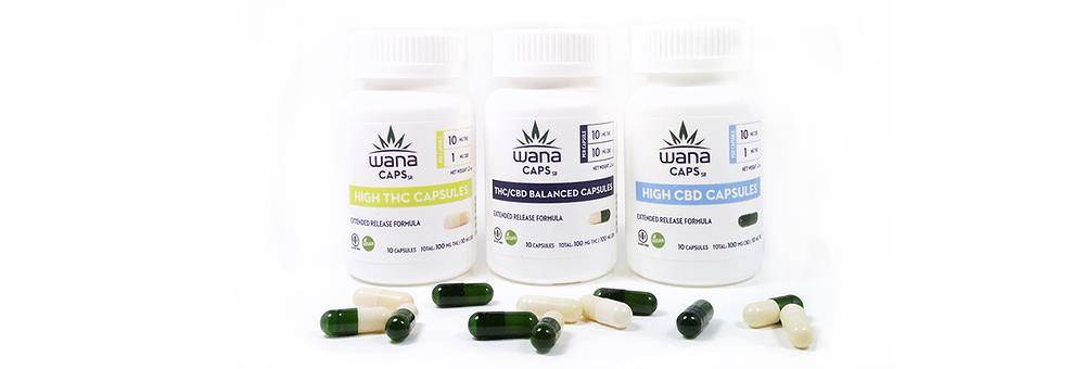 Wanacaps XR Three versions of Wanacaps XR are available in Colorado: High THC Capsules 10 mg of THC, 1 mg of CBD. THC/CBD Balanced Capsules --10 mg of THC and 10 mg of CBD.