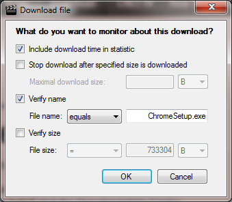 Downloading Checkbox Options Downloading Checkbox Options Include download time in statistic Check to include the time required to download the file in the overall time for recording this step.