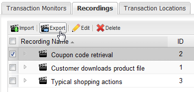 Deleting Recordings Exporting a Recording from WPM Server. 1. Log on to the WPM Web Console. 2. Click the Web tab. 3. Click WPM Settings. 4. Click Manage Recordings. 5.