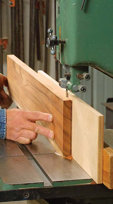 bandsaw. The task is safer and requires less horsepower than the tablesaw, and the narrow kerf consumes less wood.