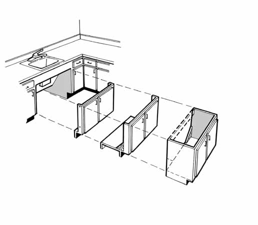 Chapter 3 - Type A and B Dwelling Units doors closed doors opening 24 Use of swinging retractable cabinet door hardware provides another excellent method to conceal knee space because the doors are