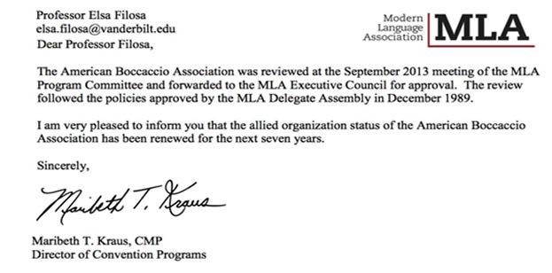 More good news arrived this past October: the ABA s request to renew its official standing with the MLA was passed. (See below.