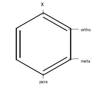 The benzene ring is six-sided, and each of the positions in the ring has a name. It looks like this. Paul M.
