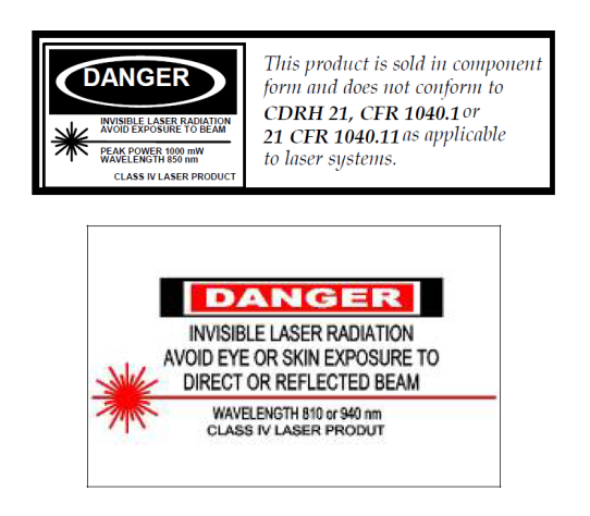 Technical Note: Power over Fiber 7 Precautions Safety The provides an output optical power of up to 2 W in the infrared region.