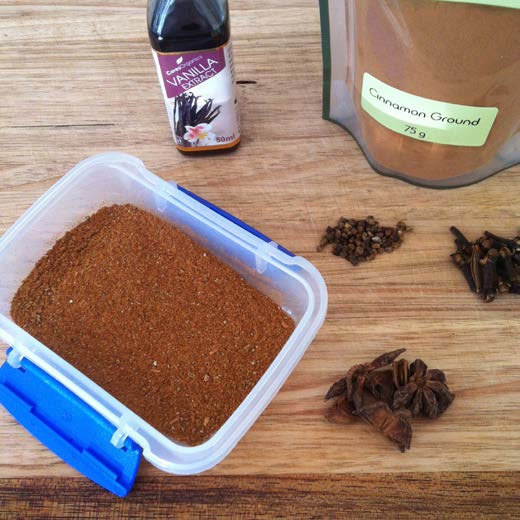 BEVERAGES HOMEMADE CHAI SPICE MIX by @nicolacarroll89 1 tbsp. cardamom pods 3 star anise 4 whole cloves 1 tbsp. ground cinnamon ½ tsp. ground nutmeg 1 tsp. ground ginger 1 tbsp.