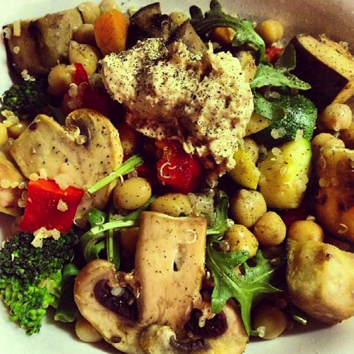 SAVORY QUINOA CHICKPEA VEGETABLE SALAD WITH HUMMUS by @emmalaurenfood emmagowdie.wordpress.com - SERVES 4 1 tbsp.