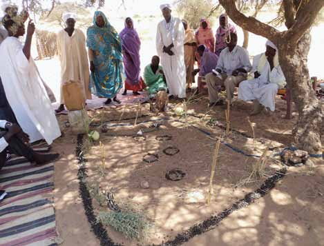 A community mapping exercise in Maba, North Darfur. This is part of the development of a Community Environmental Action Plan (CEAP).