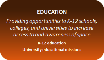 The Tauri Group SRVs provide opportunities to K-12 schools, colleges, and universities to increase access to and awareness of space, especially through the flight and return of student-built payloads