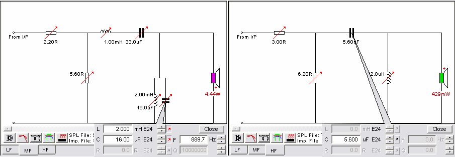 By right-clicking on the component we get a menu where we can de-activate the inductor, Fig. 24. We see that the change is less than 1 db, so we select Short circuit under Series Branch Type.