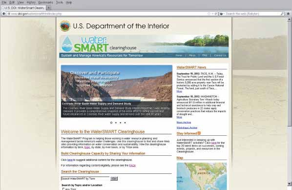 Water Conservation and Efficiency The WaterSMART Clearinghouse, which can be accessed online at: www.doi.