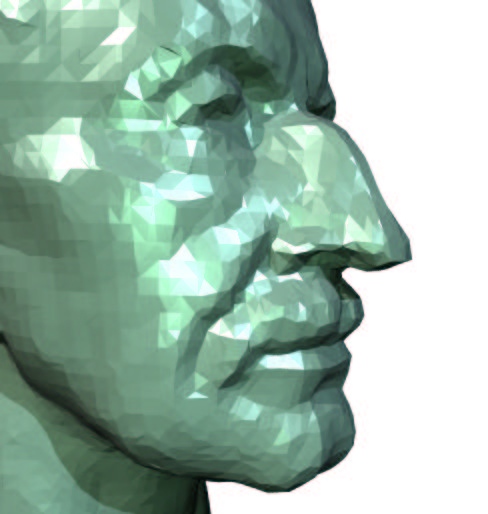 Figure 13: Triangle mesh reconstruction from a 3D scan of a bust. The original dataset consists of 200 K scattered points.