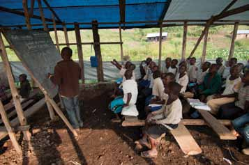 11 Congolese children during a lesson at the Mugosi Primary School close to the Kahe refugee camp.