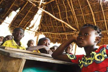 189 West and Central Africa Children attend class at a school recently damaged by floods in Kpoto, a village in Zagnanado Commune of Benin.