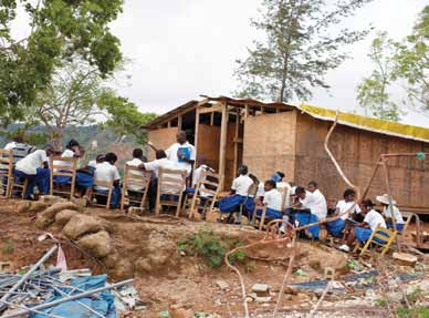 9 Rebuilding schools after the 2010 earthquake, Haiti. UNESCO/E. Abramson With a few exceptions, an assessment of student DRR learning is thin on the ground.