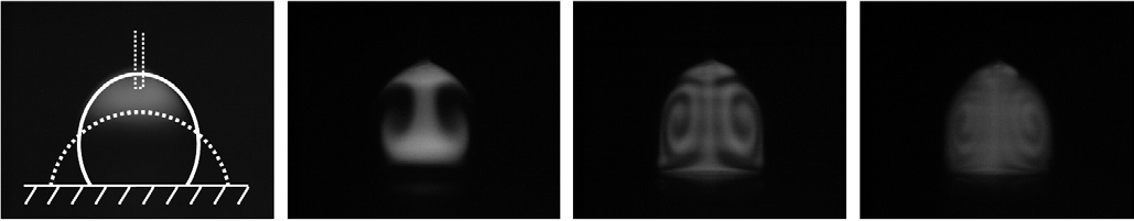 Water droplet, initially dye stained in the top part, oscillating at 81 Hz between the two morphologies indicated in the left picture. Droplet diameter: 1 mm. Time between consecutive images: 1 s. 5.