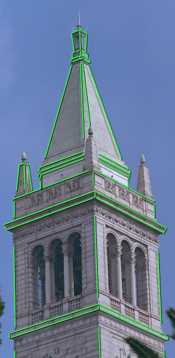 (a) (b) (c) (d) Figure 2: (a) Aphotographof the Campanile, Berkele sclocktower,with markededges shown in green. (b) The model recoveredb our photogrammetricmodelingmethod.