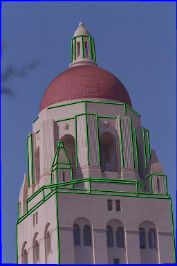 (a) (b) (c) Figure10: ReconstructionofHooverTower,Stanford,CA(a)Originalphotograph,withmarkededgesindicated. (b)modelrecovered fromthesinglephotographshownin(a).
