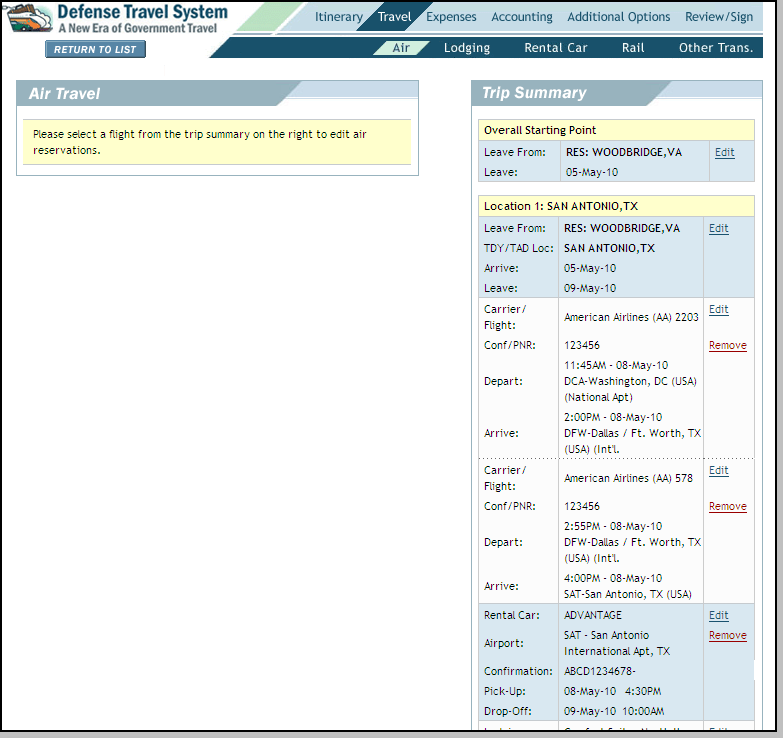 4.4 Travel The Travel module of DTS is a tool that allows a traveler to update certain travel costs on a voucher.