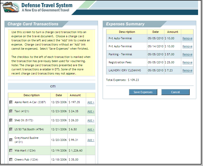 The Charge Card Transactions screen opens (Figure 4-17). Figure 4-17: Government Travel Charge Card Transactions Screen 2.