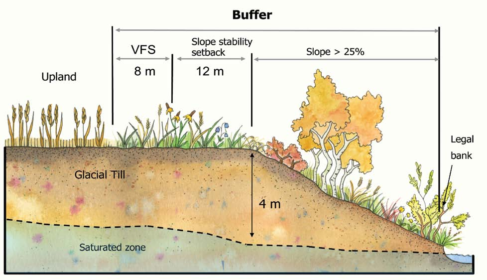 > setbacks and buffers Figure 4 A stream buffer on glacial till, comprised of a steep slope, slope stability setback, and a vegetated filter strip.