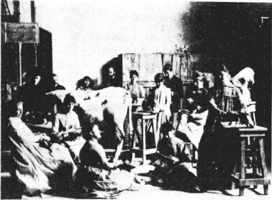 In this photograph by Thomas Eakins of one of his life-classes at the Pennsylvania Academy around 1885, a cow serves as a model for