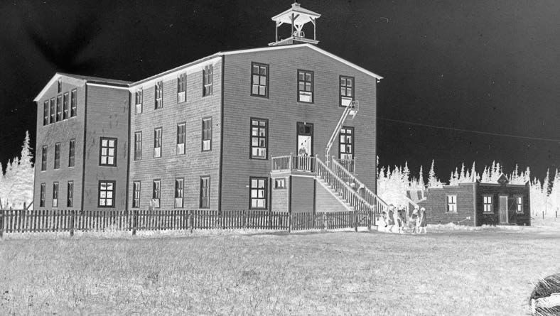 The history 33 The Roman Catholic school in Fort George, Quebec, opened in 1931. Descha telets Archives. reportedly 28,429 school-aged Aboriginal children. This meant that 31.