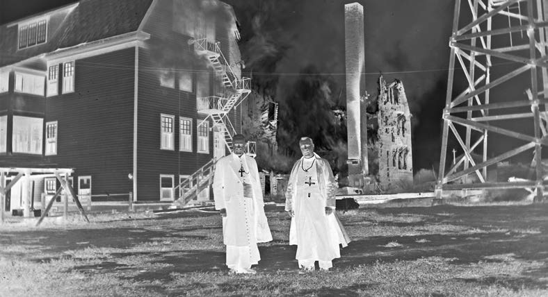 The history 65 The Roman Catholic school at Sturgeon Landing, Saskatchewan, was destroyed by fire in September 1952. There was no loss of life. St. Boniface Historical Society Archives, Roman Catholic Archbishop of Keewatin-The Pas Fonds, N3637.