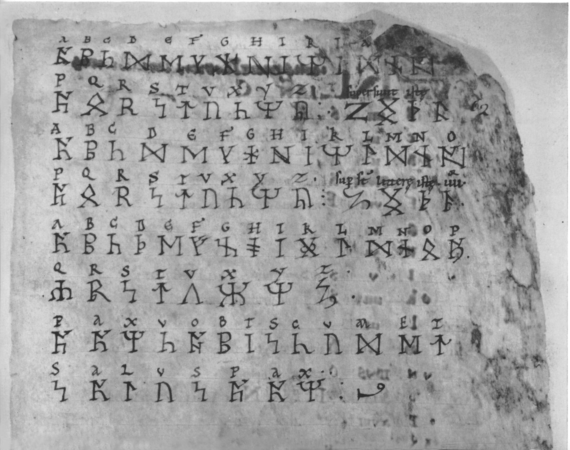 "12. Three runic ""alphabets"" with corresponding Latin letters. Anglo-Saxon, x-xi century. British Museum, Cotton MS Vitellius A. xii,f."