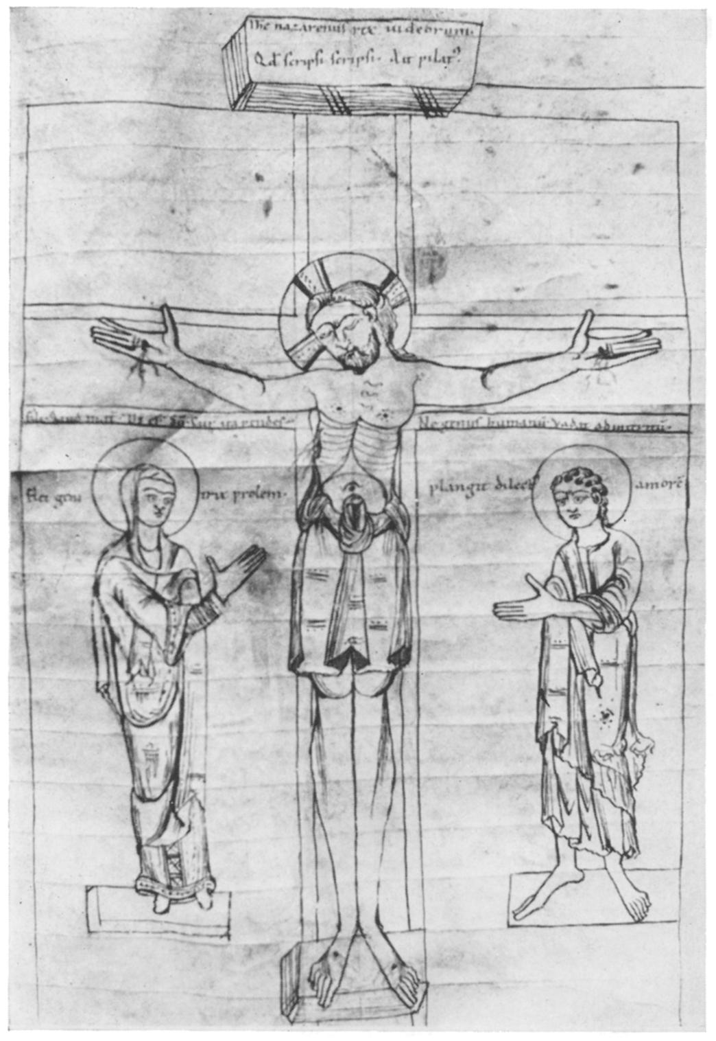 4. The Crucifixion. From a Bible (?), German (Werden), second half of the xi, century. Stadtbibliothek, Trier, MS 14, f 9v ples in medieval art that refer to the episode of Pilate and the title.