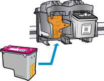 6. On the inside of the printer, locate the contacts for the cartridge. The printer contacts are the set of gold-colored bumps positioned to meet the contacts on the ink cartridge. 7.