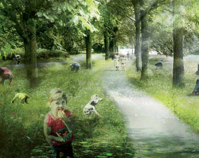 This proposes a landscape framework which integrates parkland, public access networks, habitats for nature
