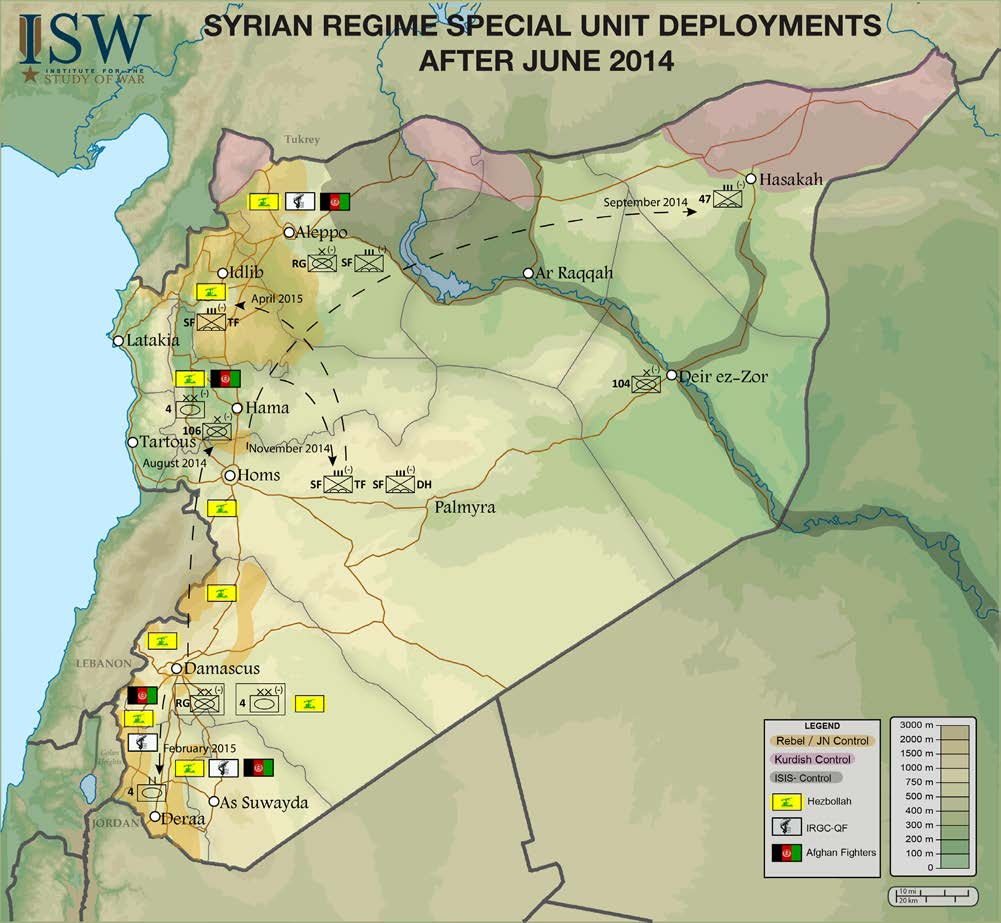MIDDLE EAST SECURITY REPORT 26 AN ARMY IN ALL CORNERS CHRISTOPHER KOZAK APRIL 2015 The Assad regime utilized both elite SAA units and Iranian proxy forces to enable its offensive operations and