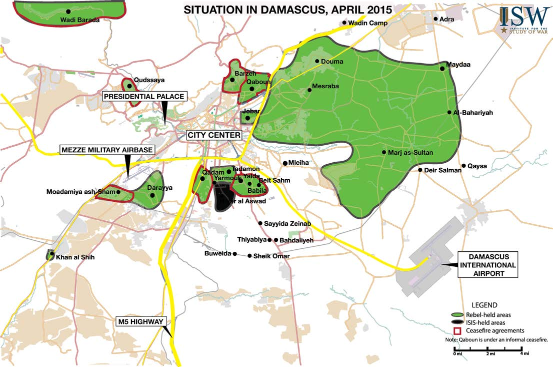MIDDLE EAST SECURITY REPORT 26 AN ARMY IN ALL CORNERS CHRISTOPHER KOZAK APRIL 2015 Securing Damascus The elimination of the opposition threat to the Syrian capital of Damascus formed the second core