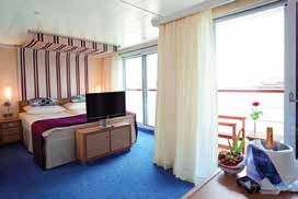 All staterooms include private facilities with showers, European queen-sized bed, individual temperature