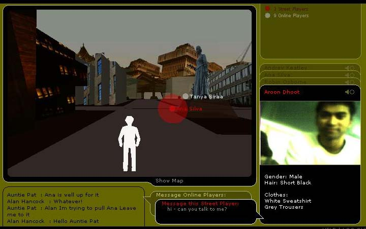 An online player s experience An online player, connected to the game over the Internet, journeys through a parallel 3D model of the game space.