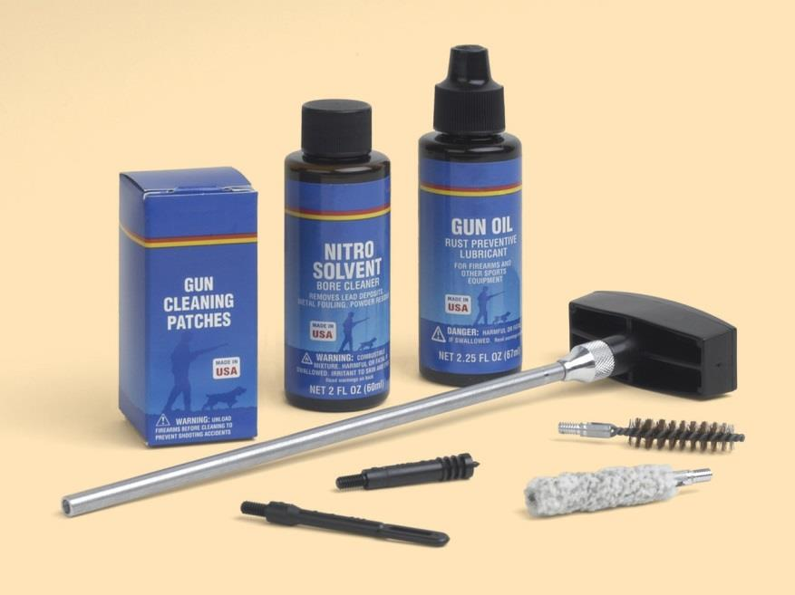 Firearm cleaning kits and materials can be purchased from most firearms dealers. Be aware that some firearm cleaning substances are toxic.