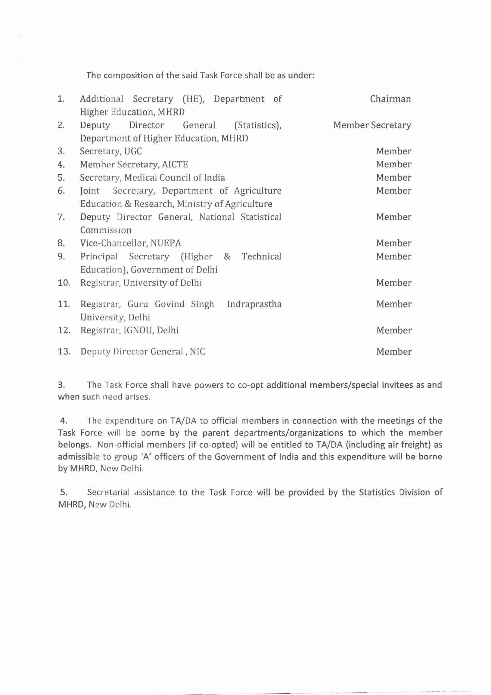 The composition of the said Task Force shall be as under: Additional Secretary (HE], Department of Chairman Higher Education, MHRD Deputy Director General (Statistics), Member Secretary Department of