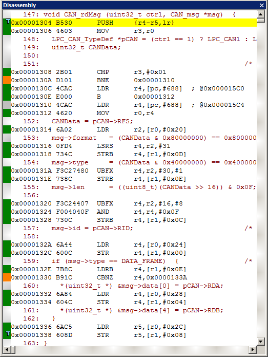 A branch where both conditions were satisfied is green. Note that at 0x130A (orange) is a BNE to 0x1310 that was always taken. Therefore, 0x1310 was never executed.